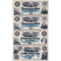 THE ZIMMERMAN BANK. $1.00, $1.00, $3.00, $5.00. 185- (1854-59). CH-815-12-08-02R, 02R, 04R, 06R. An
