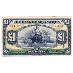 THE BANK OF NOVA SCOTIA, Kingston, Jamaica. One Pound. January 2, 1930. CH-550-38-04-04. No. 544183.