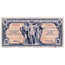 THE CANADIAN BANK OF COMMERCE, Kingston, Jamaica. One Pound. June 1, 1938. CH-75-26-02. No. 22882. S
