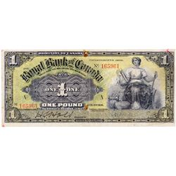 THE ROYAL BANK OF CANADA, Kingston, Jamaica. One Pound. Jan. 2, 1911. CH-630-52-02. No. 165961/A. A