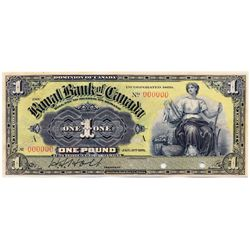 THE ROYAL BANK OF CANADA, Kingston, Jamaica. One Pound. Jan. 2, 1911. CH-630-52-02S. No. 000000/A. A