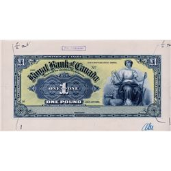 THE ROYAL BANK OF CANADA, Kingston, Jamaica. One Pound. Jan. 2, 1911. CH-630-52-02P. A full colour F