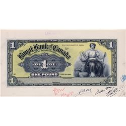 THE ROYAL BANK OF CANADA, Kingston, Jamaica. One Pound. Jan. 2, 1911. CH-630-52-02P. Full colour Fac