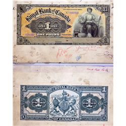 THE ROYAL BANK OF CANADA, Kingston, Jamaica. One Pound. Nov. 1, 1910. CH-630-52-01P. Full colour Fac