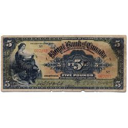 THE ROYAL BANK OF CANADA, Kingston, Jamaica. Five Pounds. Jan. 2, 1911. CH-630-52-04. No. 007299/A.