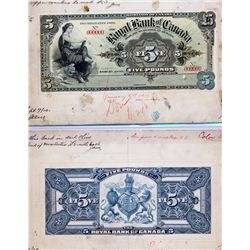 THE ROYAL BANK OF CANADA, Kingston, Jamaica. Five Pounds. Nov. 1, 1910. CH-630-52-03P. Full colour F
