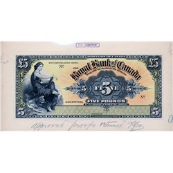 THE ROYAL BANK OF CANADA, Kingston, Jamaica. Five Pounds. Jan. 2, 1911. CH-630-52-04P. Full colour F