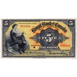 THE ROYAL BANK OF CANADA, Kingston, Jamaica. Five Pounds. Jan. 3, 1938. CH-630-54-04. No. 003494. Si