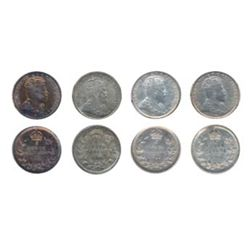 1904, 1905, 1906, 1910, Pt. Lvs. All four (4) coins are ICCS AU-58.