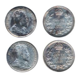 1906. ICCS Mint State-60. Lightly toned; 1907. ICCS Mint State-62. Brilliant, with a trace of toning