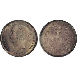 TWENTY CENTS. 1858. ICCS Mint State-67. The solo 'Finest' graded example. Accompanied by an ICCS Num