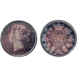 TWENTY CENTS. 1858. ICCS Plain Edge SPECIMEN-64. Premium quality red and blue toning. Some Cameo con