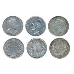 1910. Edward Leaves, 1946 Partial Dies, 1950 Design. Lot of three (3) coins, all Very Fine-20 or bet