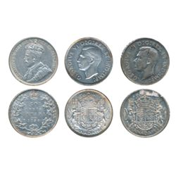 1936, 1943, 1946. Lot of three (3) coins, all About Extra Fine.