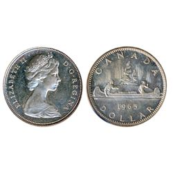 1965. Type III. Large Beads, Blunt 5. Proof-Like-65. Heavy Cameo. Traces of light blue toning.