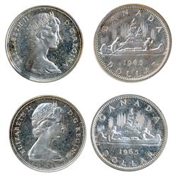 1965. Type III. Proof-Like-64 or better. Lot of two (2) coins, both brilliant with Heavy Cameo contr