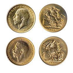 Sovereign. 1911-C, 1919-C. Both UNC-60 or better.