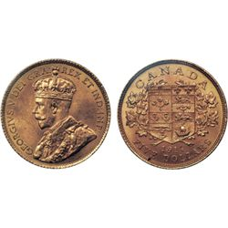 $5.00 Gold. 1914. Mint State-63. An original, pristine gold coin. The final issue of the series and