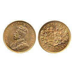 $10.00 Gold. 1914. ICCS AU-55. Brilliant orange-yellow and golden lustre.