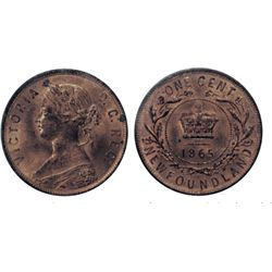 1865. ICCS Mint State-64. Red. 80% original red lustre. Some spotting on reverse.