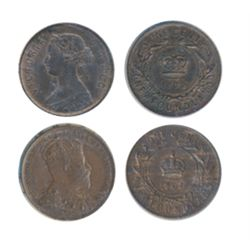 1872-H. ICCS Mint State-60. Trace Red. 1907. ICCS AU-55. Lot of two (2) large cents.
