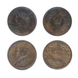 1896. ICCS Mint State-62. Brown. Hints of lustre; 1917-C. ICCS Mint State-62. Red-Brown. 30/50% lust