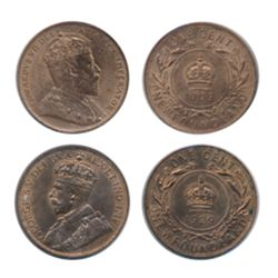 1909. ICCS Mint State-63. Red. 85% lustre; 1929. ICCS Mint State-63. Red and Brown. 50% lustre. Lot