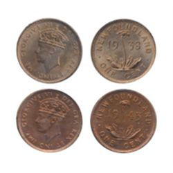 1938. ICCS Mint State-64. Red. 70% red lustre; 1943-C. ICCS Mint State-63. Red. 60% red lustre. Lot
