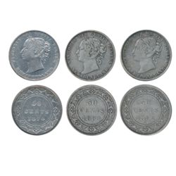 1870. ICCS Fine-15. Lightly toned; 1881. ICCS Fine-15. Medium heavy toning; 1882-H. ICCS Very Fine-2