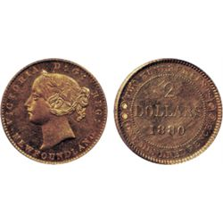 1880. PCGS graded Mint State-62. Brilliant orange and golden lustre. Somewhat reflective obverse fie