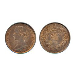 ONE CENT. 1861. PCGS graded Mint State-64. Red-Brown. 40% red lustre. Very clean cheek and surfaces.