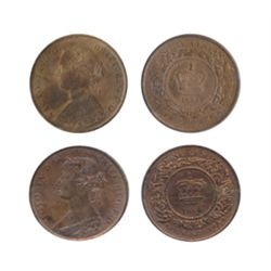 ONE CENT. 1861. ICCS Mint State-60. Cleaned. 10% luster. Nova Scotia. One Cent. 1864. ICCS Mint Stat