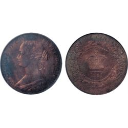 ONE CENT. 1861. PCGS graded SPECIMEN-64. Red-Brown. 25% red lustre over deep reflective fields. A sh
