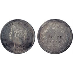 FIVE CENTS. 1862. Small '6' variety. ICCS Mint State-64. A well struck piece with light multi-hued t