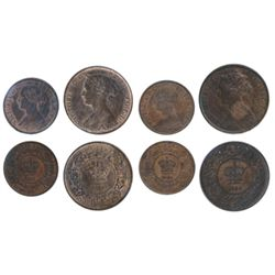 1/2 CENT. 1861. ICCS AU-55. 20% lustre; 1864. ICCS AU-50. Brown. ONE CENT. 1861. Lg. Bud. ICCS AU-55