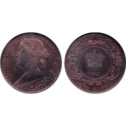 1/2 CENT. 1861. NGC graded SPECIMEN-64. Red-Brown. 30% remaining lustre. Superb strike. Excellent 'e