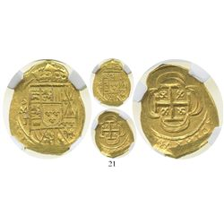 Mexico City, Mexico, cob 2 escudos, (1714)J, encapsulated NGC MS 63, from the 1715 Fleet.