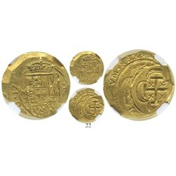 Mexico City, Mexico, cob 2 escudos, 17(14)J, encapsulated NGC MS 62, from the 1715 Fleet.