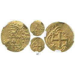 Bogota, Colombia, cob 4 escudos, 1752S, encapsulated NGC AU 50, rare.