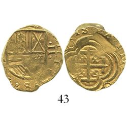Bogota, Colombia, cob 2 escudos, Philip IV, assayer not visible (A to left below NR mintmark), from