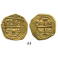 Bogota, Colombia, cob 2 escudos, Philip IV, assayer R to left, mintmark (N)R to right (1640s).