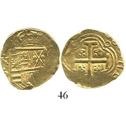 Bogota, Colombia, cob 2 escudos, Charles II, (1)666(R ), rare.