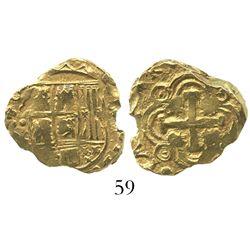 Bogota, Colombia, cob 2 escudos, Philip V, no assayer (ca. 1720).