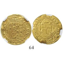 Seville Spain 1 escudo Charles-Joanna assayer * to left mintmark S to right encapsulated NGC MS 62