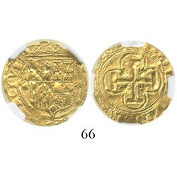 Seville, Spain, 1 escudo, Charles-Joanna, assayer * to right, mintmark S to left, encapsulated NGC A