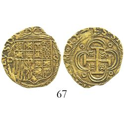Seville, Spain, 1 escudo, Charles-Joanna, assayer Gothic D to left, mintmark S to right.