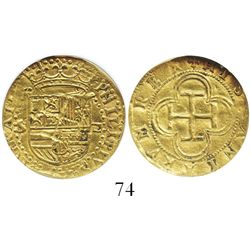 Seville, Spain, 1 escudo, Philip II, assayer Gothic D to right, mintmark S to left, encapsulated NGC