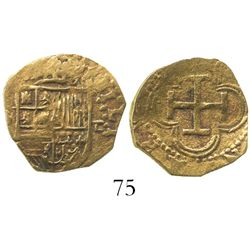 Seville, Spain, cob 1 escudo, Philip II, assayer Gothic D with open right side to right, mintmark S