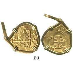 Seville, Spain, cob 2 escudos, (1)619(G), mounted in 18K necklace-bezel.