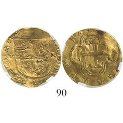 Toledo, Spain, cob 2 escudos, Philip II, assayer M to right, mintmark T to left, encapsulated NGC XF